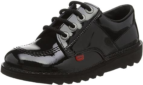 Kick Lo Core Black Leather Unisex Lace Up School Shoes
